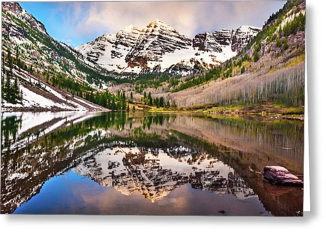 Morning At The Maroon Bells - Aspen Colorado Greeting Card