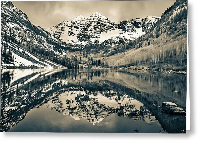 Morning At The Maroon Bells - Aspen Colorado - Sepia Greeting Card by Gregory Ballos