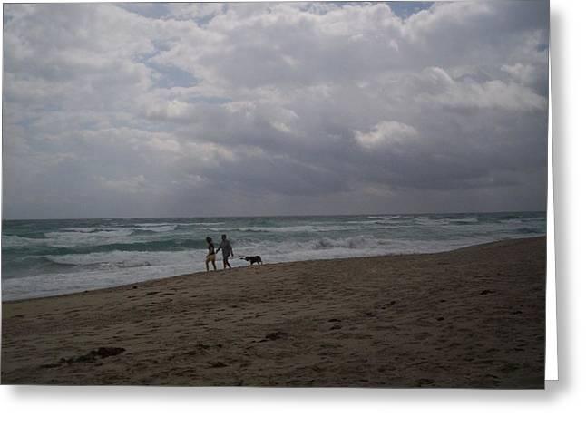 Morning Beach Walk Greeting Card by Karen Thompson