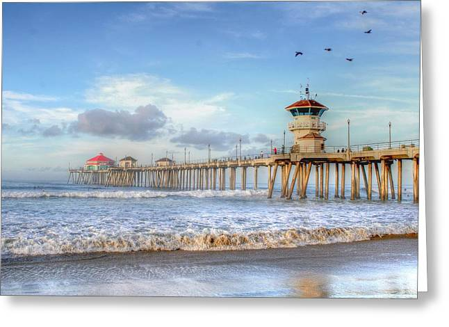 Morning Birds Over Pier Greeting Card