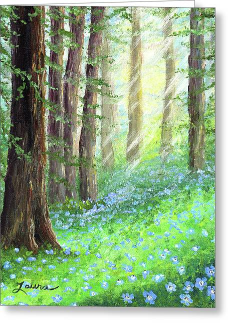 Tree Art Greeting Cards - Morning Blue Eyes Greeting Card by Laura Iverson