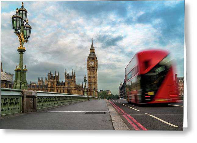 Morning Bus In London Greeting Card by James Udall