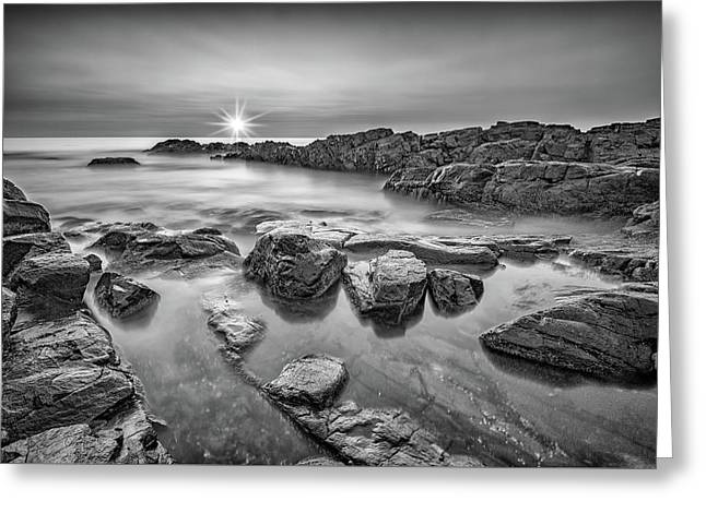 Morning Calm On Marginal Way In Black And White Greeting Card