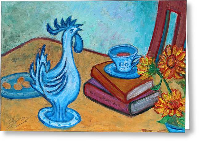 Greeting Card featuring the painting Morning Coffee Rooster by Xueling Zou