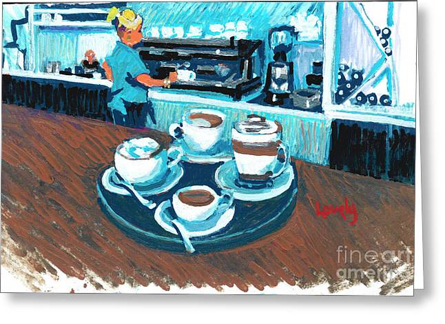 Morning Coffees Greeting Card by Candace Lovely