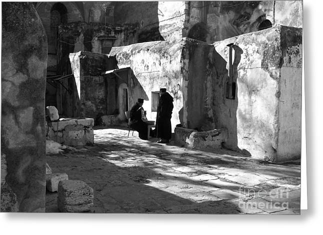 Morning Conversation In Bw Greeting Card