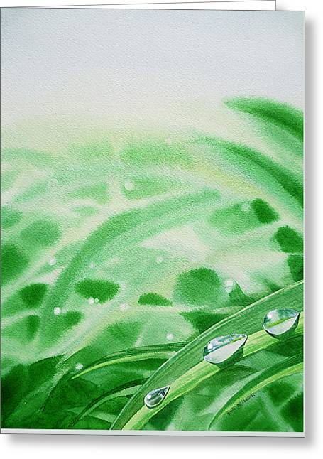Dew Drop Greeting Cards - Morning Dew Drops Greeting Card by Irina Sztukowski