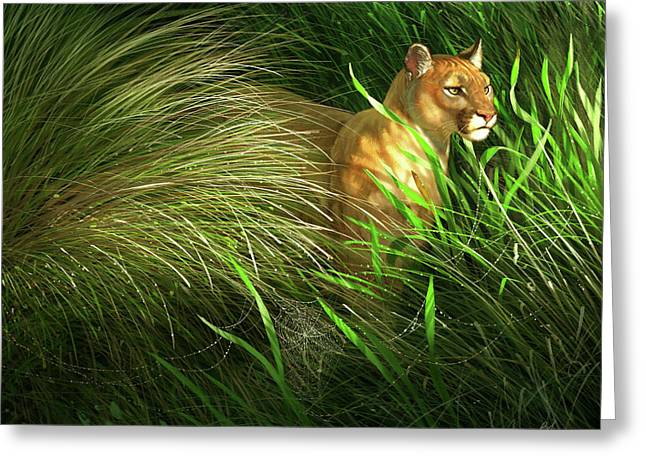 Morning Dew - Florida Panther Greeting Card