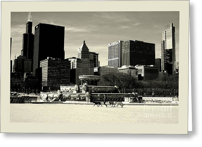 Morning Dog Walk - City Of Chicago Greeting Card