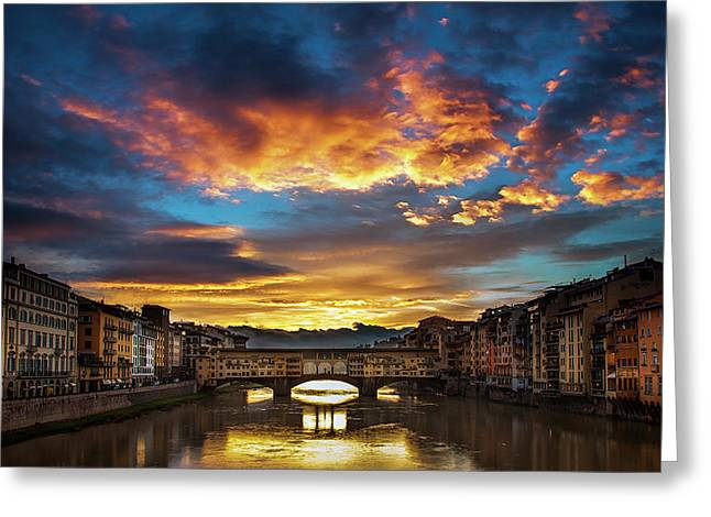 Morning Drama Over Florence Greeting Card by Andrew Soundarajan