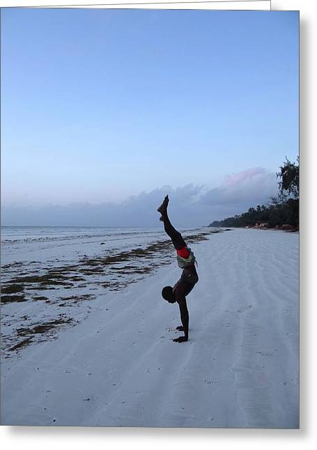 Morning Exercise On The Beach Greeting Card