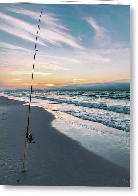 Greeting Card featuring the photograph Morning Fishing At The Beach  by John McGraw
