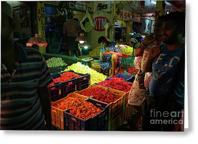 Greeting Card featuring the photograph Morning Flower Market Colors by Mike Reid