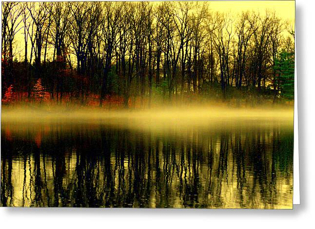 Fishing Boats Greeting Cards - Morning Fog Greeting Card by Aron Chervin