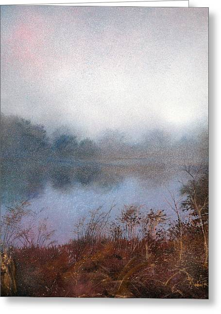 Greeting Card featuring the painting Morning Fog by Andrew King