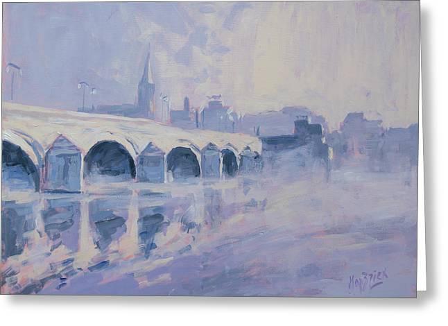 Morning Fog Around The Old Bridge Greeting Card