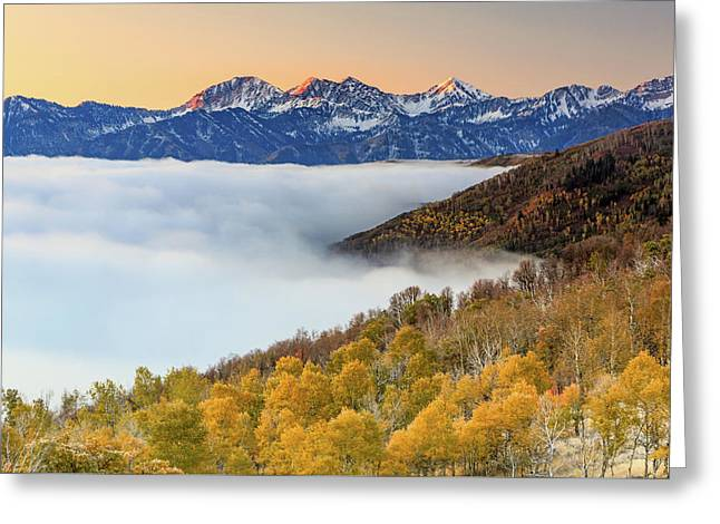 Morning Fog In The Southern Wasatch. Greeting Card by Johnny Adolphson