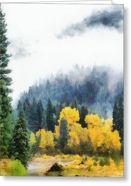 Morning Fog Montana Greeting Card by Russ Harris