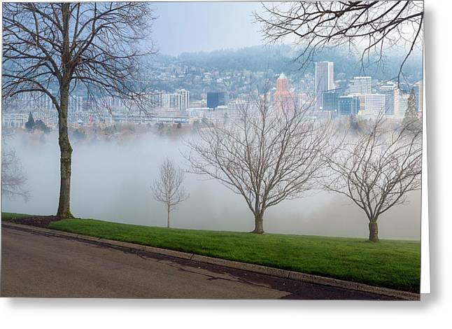 Morning Fog Over City Of Portland Skyline Greeting Card by David Gn