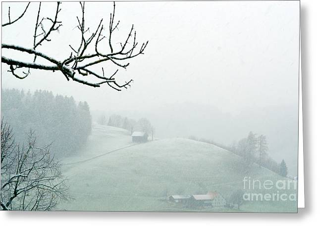 Greeting Card featuring the photograph Morning Fog - Winter In Switzerland by Susanne Van Hulst