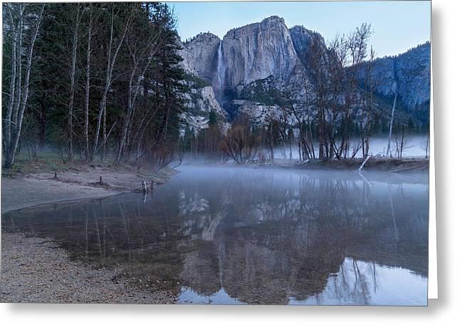 Morning Fog Yosemite Falls Greeting Card