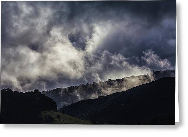 Morning Fog,mist And Cloud On The Moutain By The Sea In Californ Greeting Card