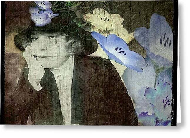 Greeting Card featuring the digital art Morning Glories by Delight Worthyn
