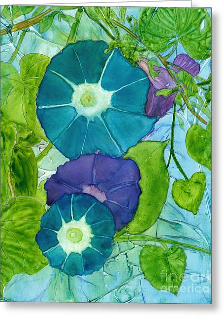 Morning Glories In Watercolor On Yupo Greeting Card