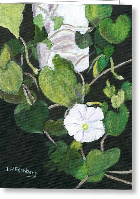 Greeting Card featuring the painting Morning Glory by Linda Feinberg