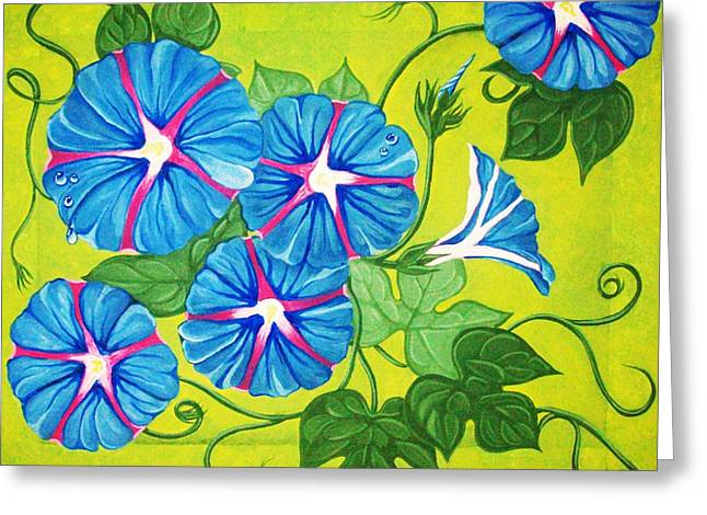 Morning Glory Greeting Card by Peggy Davis
