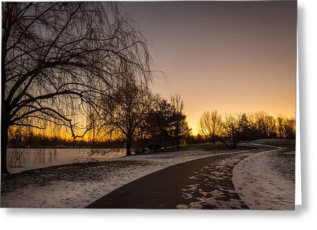 Morning Glow Along Hoyt Lake Greeting Card by Chris Bordeleau