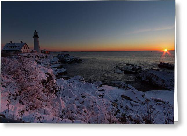 Morning Glow At Portland Headlight Greeting Card