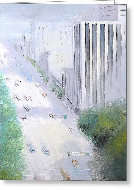 Oakland Paintings Greeting Cards - Morning Glow on Broadway 1986 Greeting Card by Wingsdomain Art and Photography