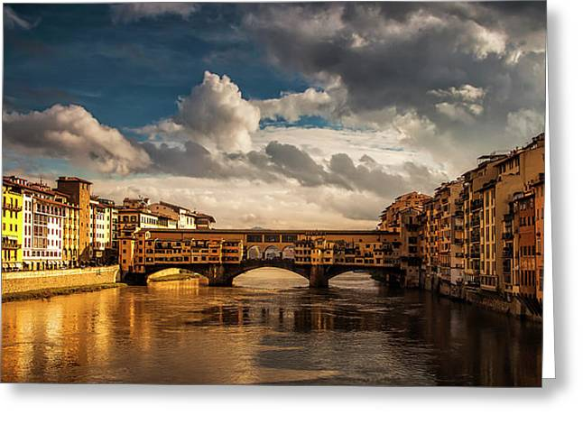 Morning Glow On Ponte Vecchio Greeting Card by Andrew Soundarajan