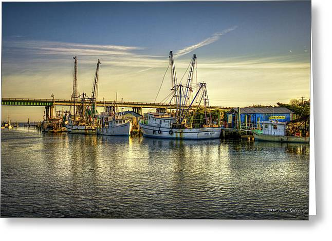 Dawns Morning Glow Tybee Island Shrimp Boat Art Greeting Card by Reid Callaway
