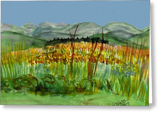 Greeting Card featuring the painting Morning In Backyard At Barton by Donna Walsh