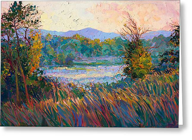 Greeting Card featuring the painting Morning In Mist by Erin Hanson