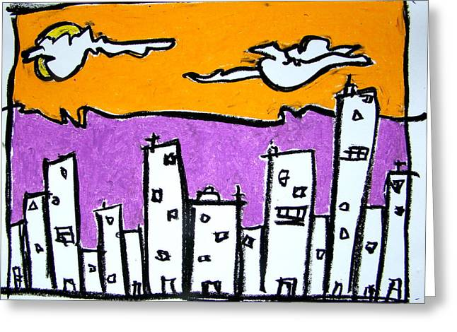 Urban Buildings Pastels Greeting Cards - Morning In The City Greeting Card by Pat  Lackenbauer