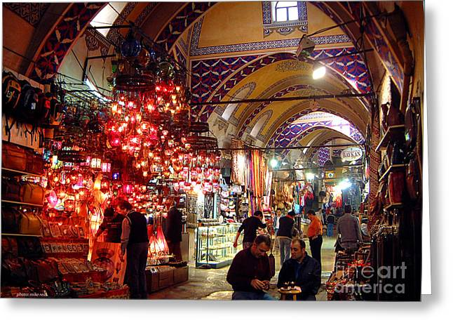 Morning In The Grand Bazaar Greeting Card by Mike Reid
