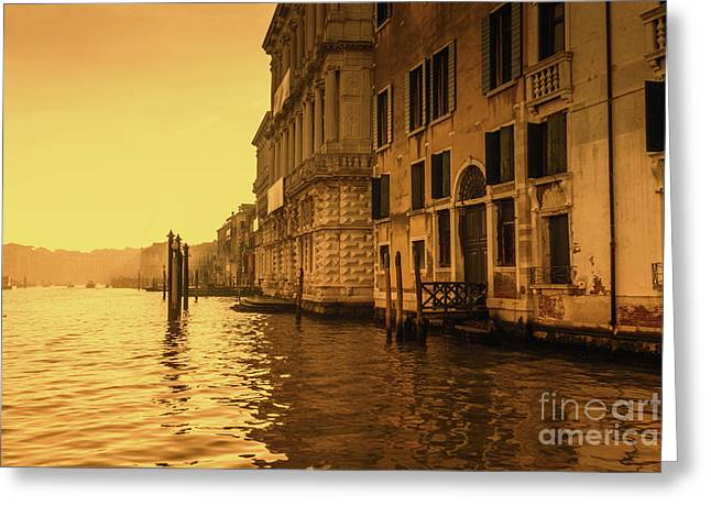 Morning In Venice Sepia Greeting Card