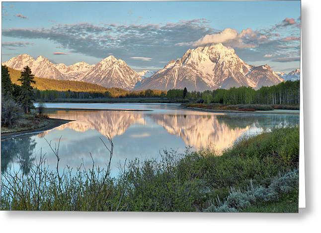Greeting Card featuring the photograph Morning Light At Oxbow Bend by Joe Paul