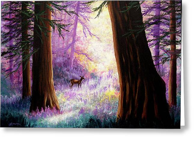 Morning Light Deep In The Redwoods Greeting Card