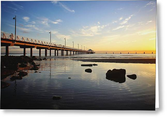 Morning Light Down By The Pier Greeting Card