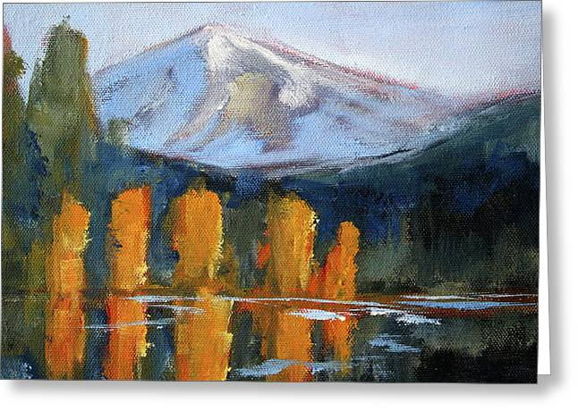 Greeting Card featuring the painting Morning Light Mountain Landscape Painting by Nancy Merkle