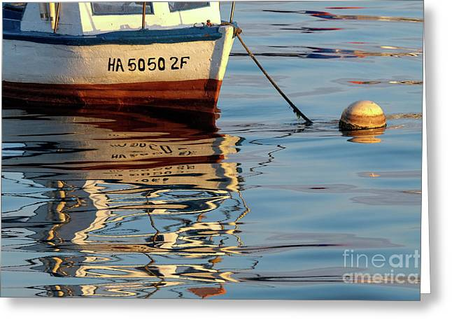 Greeting Card featuring the photograph Morning Light On Boat by Brenda Tharp
