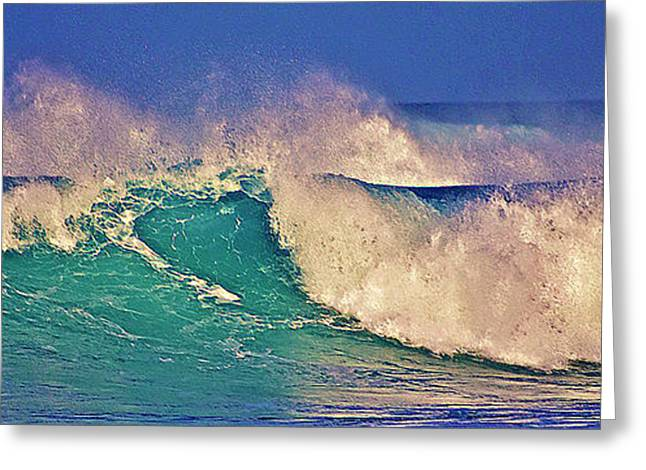 Morning Light On Breaking Waves Greeting Card