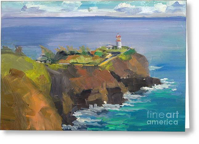 Morning Lighthouse Greeting Card by Cynthia Riedel