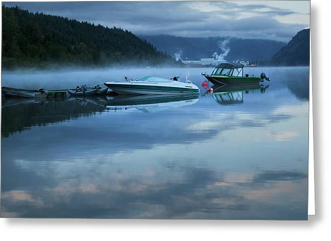 Greeting Card featuring the photograph Morning Mist Adams Lake by Theresa Tahara