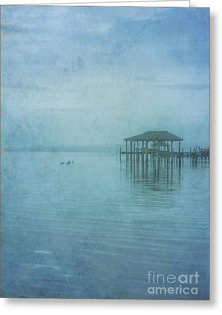 Greeting Card featuring the digital art Morning Mist In Blue by Randy Steele