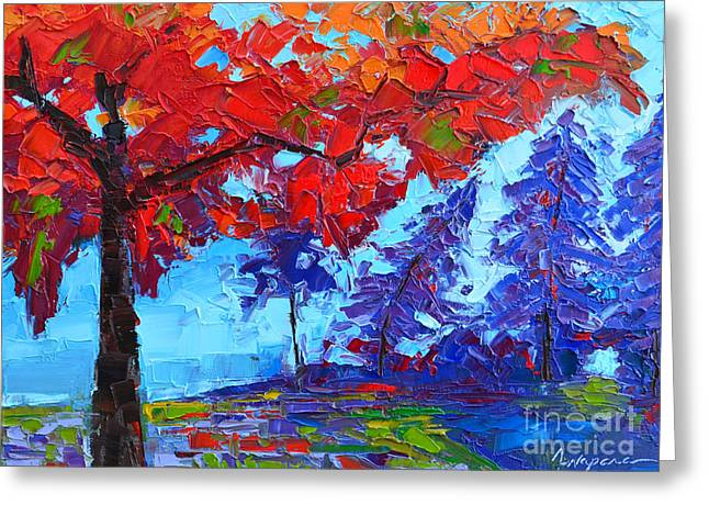 Morning Mist Landscape - Modern Impressionistic Palette Knife Oil Painting Greeting Card